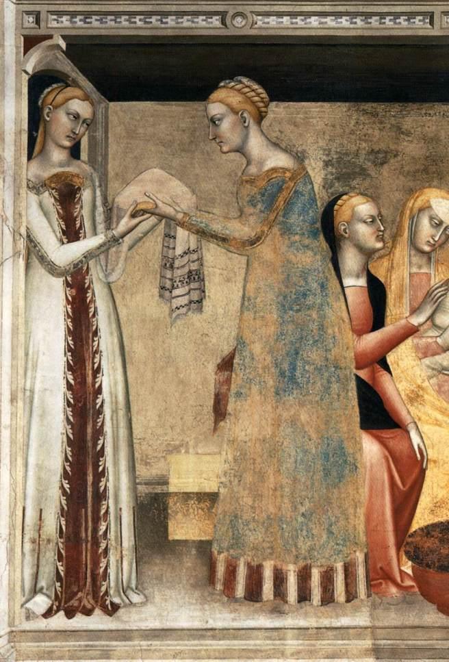 Giovanni da Milano The Birth of the Virgin 1365 Fresco Rinuccini Chapel, Santa Croce, Florence